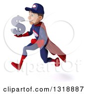 Clipart Of A 3d Young White Male Super Hero Mechanic In Red And Dark Blue Sprinting To The Left Holding A Dollar Symbol Royalty Free Illustration