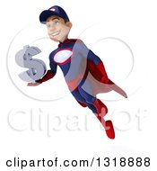 Clipart Of A 3d Young White Male Super Hero Mechanic In Red And Dark Blue Flying Holding A Dollar Symbol Royalty Free Illustration