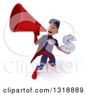 Clipart Of A 3d Young White Male Super Hero Mechanic In Red And Dark Blue Holding A Dollar Symbol And Announcing Upwards With A Megaphone Royalty Free Illustration