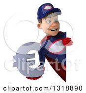Clipart Of A 3d Young White Male Super Hero Mechanic In Red And Dark Blue Holding A Euro Symbol Around A Sign Royalty Free Illustration