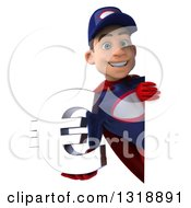 Clipart Of A 3d Young White Male Super Hero Mechanic In Red And Dark Blue Holding A Euro Symbol Around A Sign 2 Royalty Free Illustration
