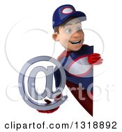 Clipart Of A 3d Young White Male Super Hero Mechanic In Red And Dark Blue Holding An Email Arobase At Symbol And Looking Around A Sign Royalty Free Illustration