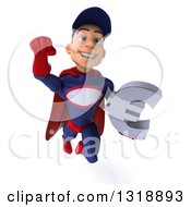 Clipart Of A 3d Young White Male Super Hero Mechanic In Red And Dark Blue Flying And Holding A Euro Symbol Royalty Free Illustration