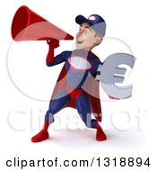 Clipart Of A 3d Young White Male Super Hero Mechanic In Red And Dark Blue Holding A Euro Symbol And Announcing To The Left With A Megaphone Royalty Free Illustration