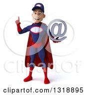 Clipart Of A 3d Young White Male Super Hero Mechanic In Red And Dark Blue Holding Up A Finger And An Email Arobase At Symbol Royalty Free Illustration