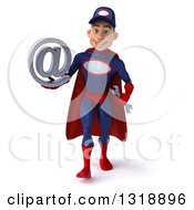 Clipart Of A 3d Young White Male Super Hero Mechanic In Red And Dark Blue Walking And Holding An Email Arobase At Symbol Royalty Free Illustration