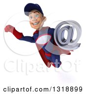 Clipart Of A 3d Young White Male Super Hero Mechanic In Red And Dark Blue Flying And Holding An Email Arobase At Symbol Royalty Free Illustration