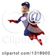 Clipart Of A 3d Young White Male Super Hero Mechanic In Red And Dark Blue Flying Pointing And Holding An Email Arobase At Symbol Royalty Free Illustration