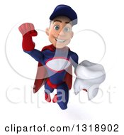 Clipart Of A 3d Young White Male Super Hero Mechanic In Red And Dark Blue Flying And Holding A Tooth Royalty Free Illustration