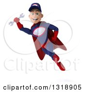 Clipart Of A 3d Young White Male Super Hero Mechanic In Red And Dark Blue Flying With A Wrench 2 Royalty Free Illustration
