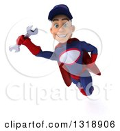 Clipart Of A 3d Young White Male Super Hero Mechanic In Red And Dark Blue Flying With A Wrench 3 Royalty Free Illustration