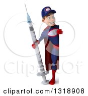 Clipart Of A 3d Full Length Young White Male Super Hero Mechanic In Red And Dark Blue Holding A Giant Vaccine Syringe And Looking Around A Sign Royalty Free Illustration