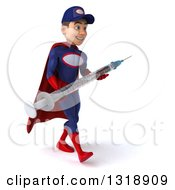 Clipart Of A 3d Young White Male Super Hero Mechanic In Red And Dark Blue Walking To The Right And Holding A Giant Vaccine Syringe Royalty Free Illustration