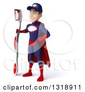 Clipart Of A 3d Young White Male Super Hero Mechanic In Red And Dark Blue Facing Left And Holding A Giant Toothbrush Royalty Free Illustration