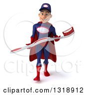 Clipart Of A 3d Young White Male Super Hero Mechanic In Red And Dark Blue Walking And Carrying A Giant Toothbrush Royalty Free Illustration