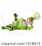 Clipart Of A 3d Green Caucasian Male Super Chef Resting On His Side And Waving Royalty Free Illustration