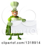 Clipart Of A 3d Green Caucasian Male Super Chef Holding A Blank Sign Royalty Free Illustration