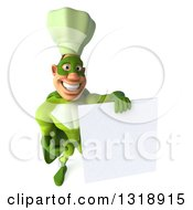 Clipart Of A 3d Green Caucasian Male Super Chef Holding Up And Pointing To A Blank Sign Royalty Free Illustration