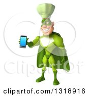 Clipart Of A 3d Green Caucasian Male Super Chef Facing Slightly Left And Holding Out A Smart Cell Phone Royalty Free Illustration by Julos
