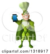 Clipart Of A 3d Green Caucasian Male Super Chef Holding Out A Smart Cell Phone Royalty Free Illustration by Julos