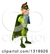 Clipart Of A 3d White Super Hero Man In A Green Costume Facing Right And Holding Out A Smart Cell Phone Royalty Free Illustration by Julos