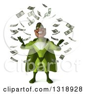 Clipart Of A 3d Buff Male Black Super Hero In Green Making It Rain Money Royalty Free Illustration