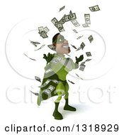 Clipart Of A 3d Buff Male Black Super Hero In Green Facing Right Making It Rain Money Royalty Free Illustration