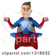 Clipart Of A 3d Young Brunette White Male Super Hero In A Blue And Red Suit Meditating Royalty Free Illustration