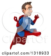 Clipart Of A 3d Young Brunette White Male Super Hero In A Blue And Red Suit Floating Facing Right And Meditating Royalty Free Illustration