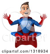 Clipart Of A 3d Surprised Young Brunette White Male Super Hero In A Blue And Red Suit Meditating Royalty Free Illustration