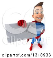 Clipart Of A 3d Young Brunette White Male Super Hero In A Blue And Red Suit Holding Up An Envelope Royalty Free Illustration