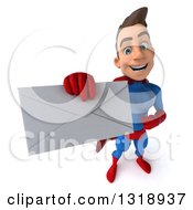 Clipart Of A 3d Young Brunette White Male Super Hero In A Blue And Red Suit Holding Up An Envelope 2 Royalty Free Illustration