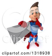 Clipart Of A 3d Young Brunette White Male Super Hero In A Blue And Red Suit Thinking And Holding Up An Envelope Royalty Free Illustration