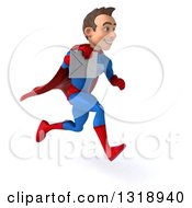 Clipart Of A 3d Young Brunette White Male Super Hero In A Blue And Red Suit Sprinting To The Right And Holding An Envelope Royalty Free Illustration