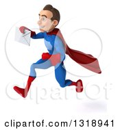 Clipart Of A 3d Young Brunette White Male Super Hero In A Blue And Red Suit Sprinting To The Left And Holding An Envelope Royalty Free Illustration