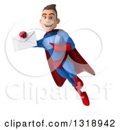 Clipart Of A 3d Young Brunette White Male Super Hero In A Blue And Red Suit Flying And Holding An Envelope Royalty Free Illustration