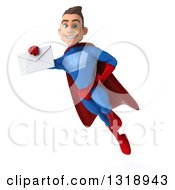 Clipart Of A 3d Young Brunette White Male Super Hero In A Blue And Red Suit Flying And Holding An Envelope 2 Royalty Free Illustration