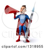 Clipart Of A 3d Young Brunette White Male Super Hero In A Blue And Red Suit Holding A Giant Vaccine Syringe And Announcing With A Megaphone Royalty Free Illustration