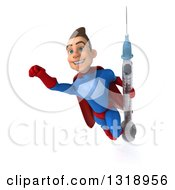 Clipart Of A 3d Young Brunette White Male Super Hero In A Blue And Red Suit Flying Holding A Giant Vaccine Syringe 2 Royalty Free Illustration