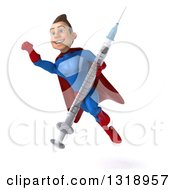 Clipart Of A 3d Young Brunette White Male Super Hero In A Blue And Red Suit Flying Holding A Giant Vaccine Syringe Royalty Free Illustration
