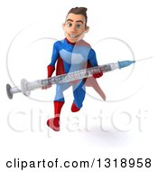 Clipart Of A 3d Young Brunette White Male Super Hero In A Blue And Red Suit Sprinting And Holding A Giant Vaccine Syringe Royalty Free Illustration