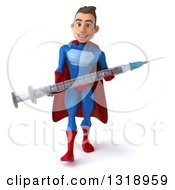 Clipart Of A 3d Young Brunette White Male Super Hero In A Blue And Red Suit Carrying A Giant Vaccine Syringe Royalty Free Illustration