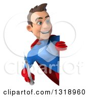 Clipart Of A 3d Young Brunette White Male Super Hero In A Blue And Red Suit Holding A Vaccine Syringe And Looking Around A Sign Royalty Free Illustration
