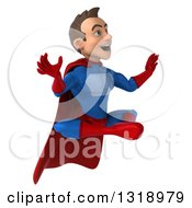 Clipart Of A 3d Young Brunette White Male Super Hero In A Blue And Red Suit Facing Right Looking Surprised And Meditating Royalty Free Illustration