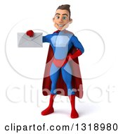 Clipart Of A 3d Young Brunette White Male Super Hero In A Blue And Red Suit Holding An Envelope Royalty Free Illustration