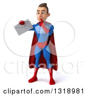 Clipart Of A 3d Young Brunette White Male Super Hero In A Blue And Red Suit Thinking And Holding An Envelope Royalty Free Illustration