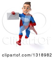 Clipart Of A 3d Young Brunette White Male Super Hero In A Blue And Red Suit Sprinting Holding An Envelope Royalty Free Illustration