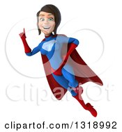 Clipart Of A 3d Young Brunette White Female Super Hero In A Blue And Red Suit Holding Up A Finger And Flying Royalty Free Illustration by Julos