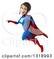 Clipart Of A 3d Young Brunette White Female Super Hero In A Blue And Red Suit Pointing And Flying Royalty Free Illustration by Julos