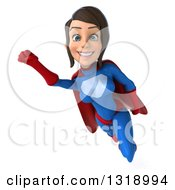 Clipart Of A 3d Young Brunette White Female Super Hero In A Blue And Red Suit Flying Royalty Free Illustration by Julos